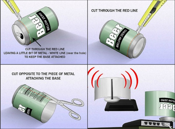 use beer can to boost wifi