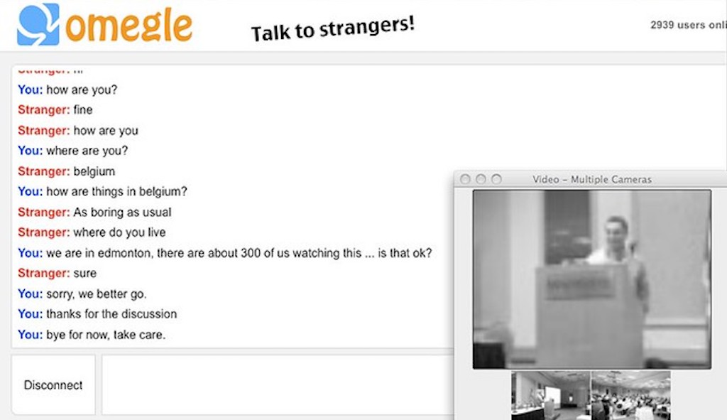 Screenshot of an Omegle chat